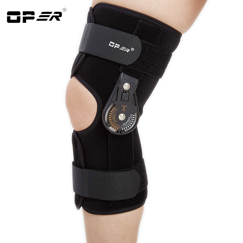 OPER Knee Pads Hinged Orthosis Brace Support Justerbar Medisinsk Ligament Injury Ortopedisk Splint Slidgikt Knelbeskytter