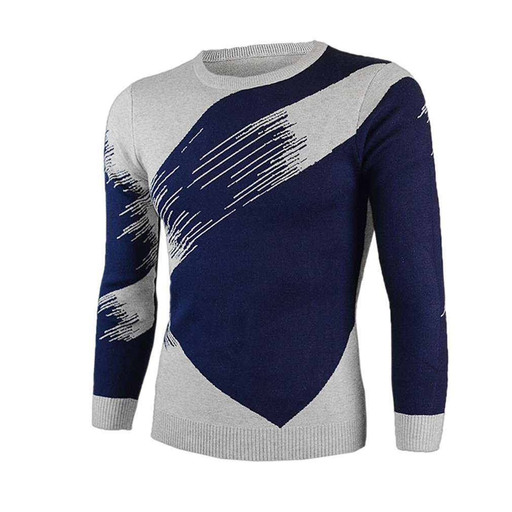 2016 Autumn Winter Men New Style Mixed Color Tops Casual Design Long Sleeve Round Neck Keep