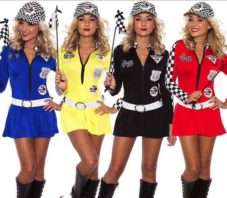 free shipping Sexy Miss Indy Super Car Racer Racing Sport Driver Grid Girl Prix Fancy Costume S M L XL 2XL 3XL