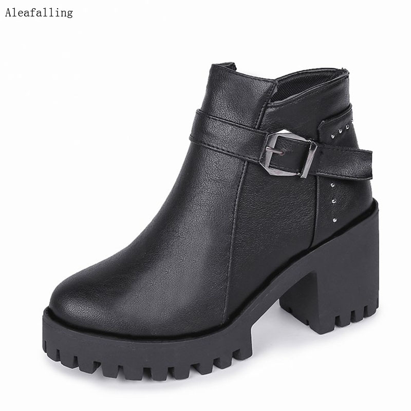 Aleafalling Women Shoes Warm Motorcycle Snow Boots Female Round Toe Woman 7.5CM Heel Good Boots Vintage Zip Casual Lady Boots Aleafalling Women Shoes Warm Motorcycle Snow Boots Female Round Toe Woman 7.5CM Heel Good Boots Vintage Zip Casual Lady Boots