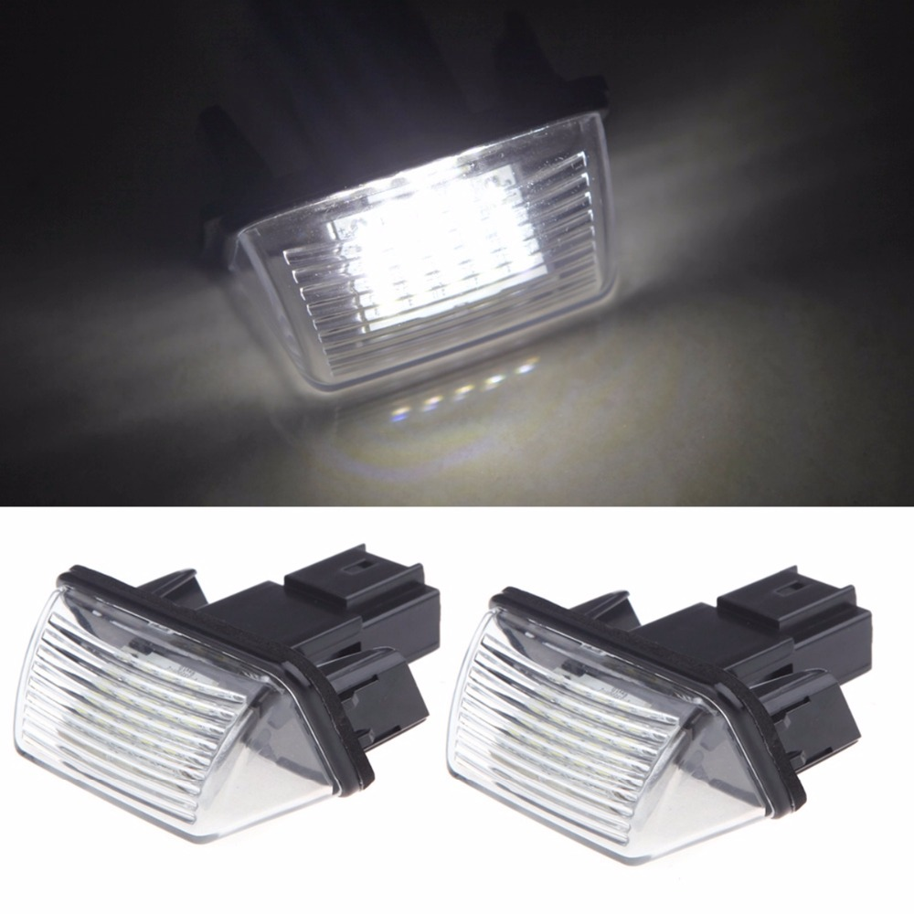 Qook 2piece Bright Led License Number Plate Light for Peugeot 206 207 306 307 406 407 Citroen C3 C3 Ii C3 led glove box light for peugeot 206 207 306 406 307 406 407 607 806 308 3008 auto led interior bulb 12v led glove box lamp