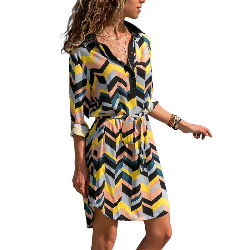 New Autumn 2019 Sleeve Women Dresses Fashion Striped Tunic Bandage Bodycon Beach Party Dress Summer Ladies Office Shirt Dress