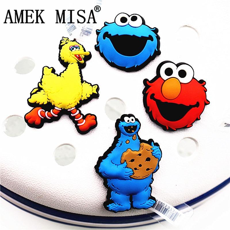 Hot Sale 1pcs Shoe Decorations 3D Sesame Street Style Shoe Charm Elmo/Big Bird/Cookie Monster Shoe Accessories Fit Kids Gifts