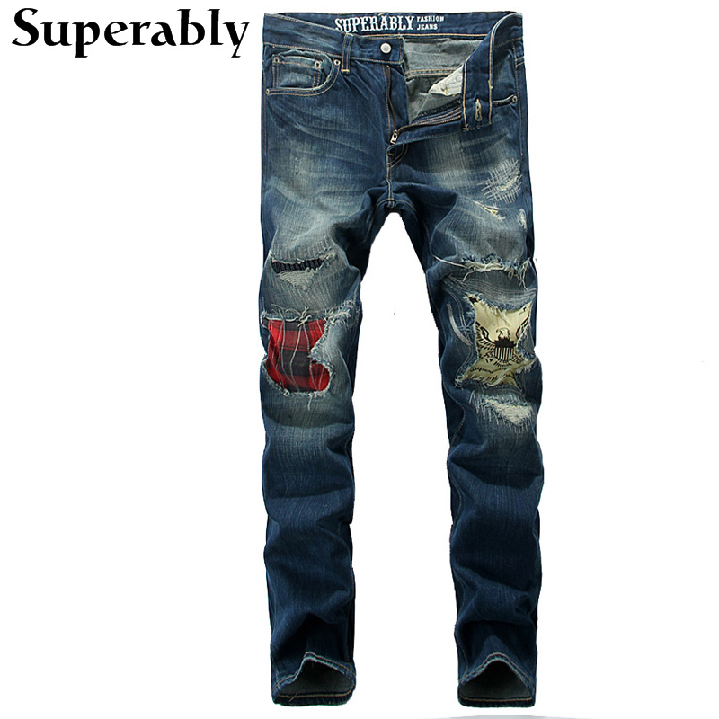 ФОТО Blue Color Denim Men Jeans High Quality Destroyed Ripped Jeans Men Superably Brand Straight Stripe Jeans Mens Pannt Full Length