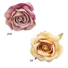 5pcs/lot high quality silk retro European big rose wedding party bow decoration brooch craft flower hair accessories wholesale