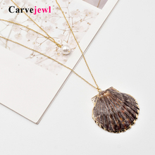 цена на Carvejewl 2 row shell pendant long necklace metal thin chain multi layer pearl 2019 summer new Korean necklace for women jewelry