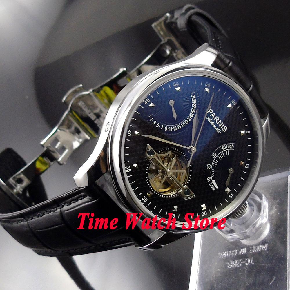 Parnis 43mm schwarzes zifferblatt power reserve datum faltschließe Automatische bewegung herrenuhr männer 412-in Mechanische Uhren aus Uhren bei  Gruppe 1