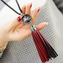 leather tassel long necklaces