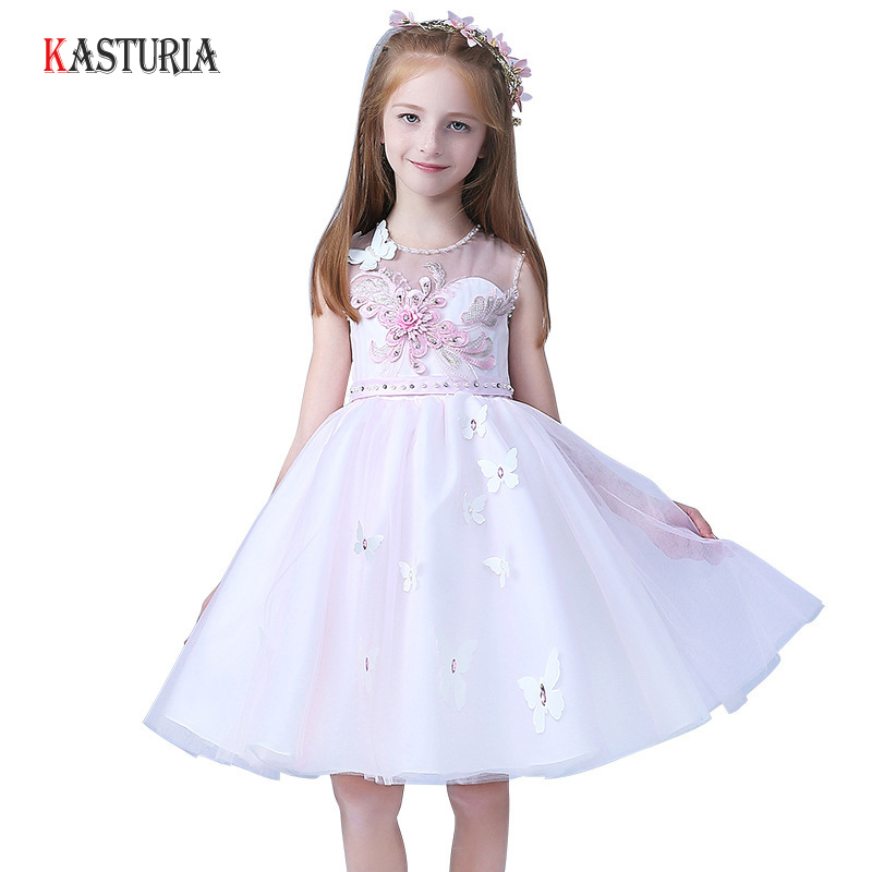 Здесь продается  2018 Children kids dresses for girls princess girls dress flower sleeveless children costume ceremony wedding party dress  Детские товары