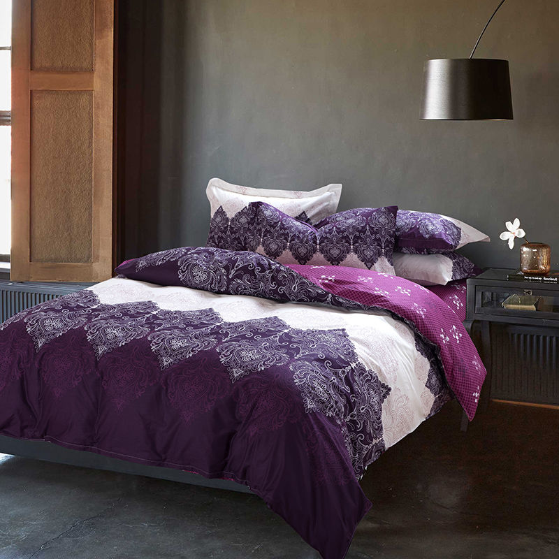 Purple blue bedding set 4pcs cotton duvet cover set bed for Lit queen size