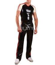Мужские Латексные наборы Резиновые Бегунов-Красный Черный Костюм латекс брюки и майка