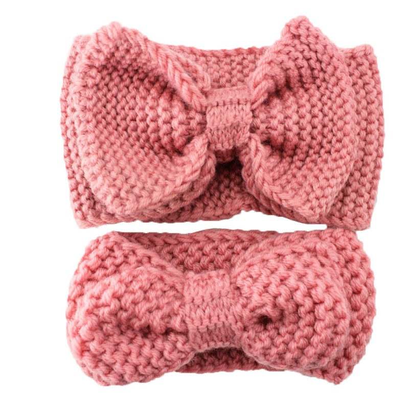 Hand knitted crochet wool headband solid color soft and comfortable knit bow headband paternity wholesale hair accessories in Hair Accessories from Mother Kids