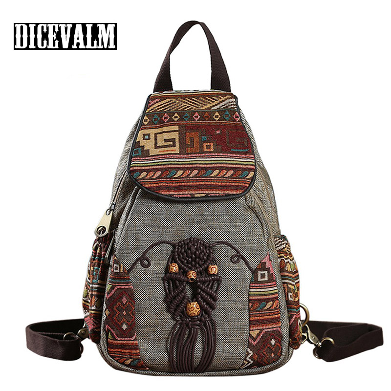 DICEVALM Female Shoulder Bag Canvas Back Pack Retro Women Backpack Small Chinese Style Travel Backpack Woven Women Bag Bagpack