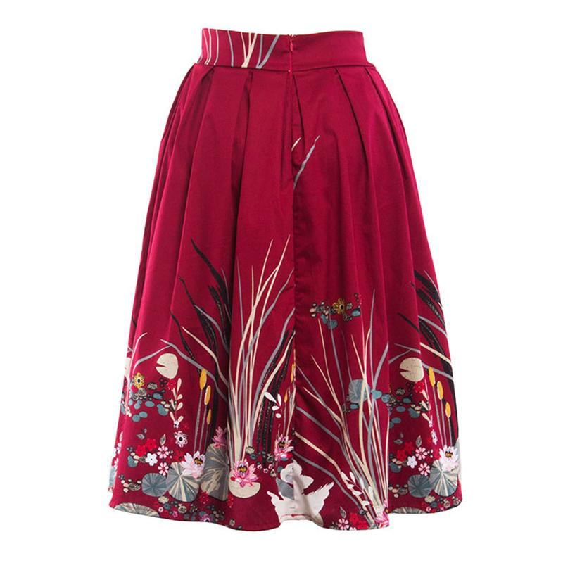 Kostlish 2017 Retro Print Summer Skirts Womens High Waist 50s Vintage Midi Skirt Elegant Slim Big Swing Women Skirt Plus Size (12)