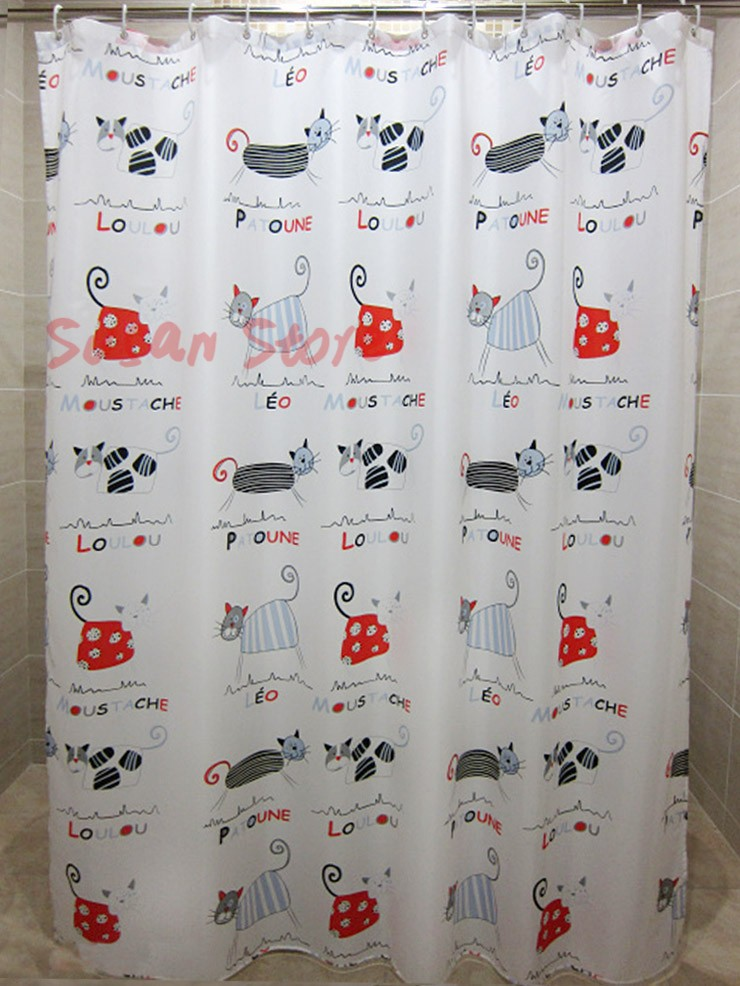 Wholesale Hot 71inch Social Shower Curtain Facebook Cute Cat 180180 Cm Contact Us For Bulk Order