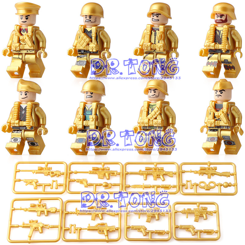 DR TONG 80pcs/lot Goden Soldier MILITARY Weapon Army Building Blocks Figures Bricks Toy Children Gifts dr tong 20pcs lot pg1049 super hero