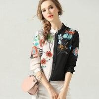 100% Silk Blouse Women Shirt Asymmetrical Design Printed O Neck Long Sleeve Lightweight Fabric Top New Fashion Spring 2019