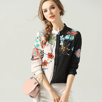 100% Silk Blouse Women Shirt Asymmetrical Design Printed O Neck Long Sleeve Lightweight Fabric Top New Fashion Spring 2019
