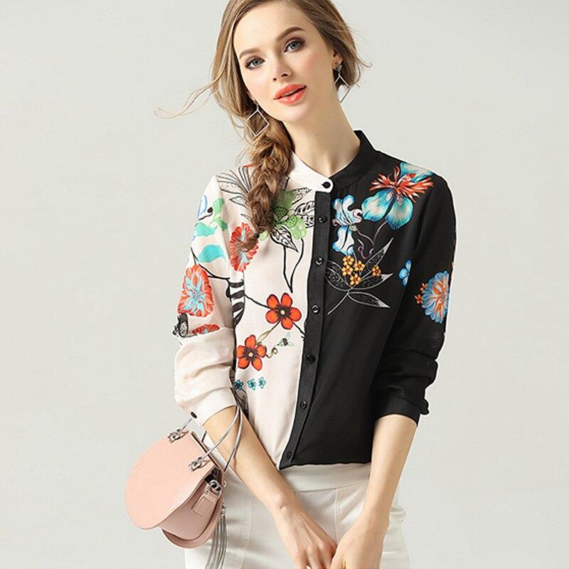 100% 실크 블라우스 여성 셔츠 비대칭 디자인 인쇄 o 넥 긴 소매 경량 패브릭 탑 새로운 패션 봄 2019-에서블라우스 & 셔츠부터 여성 의류 의  그룹 1