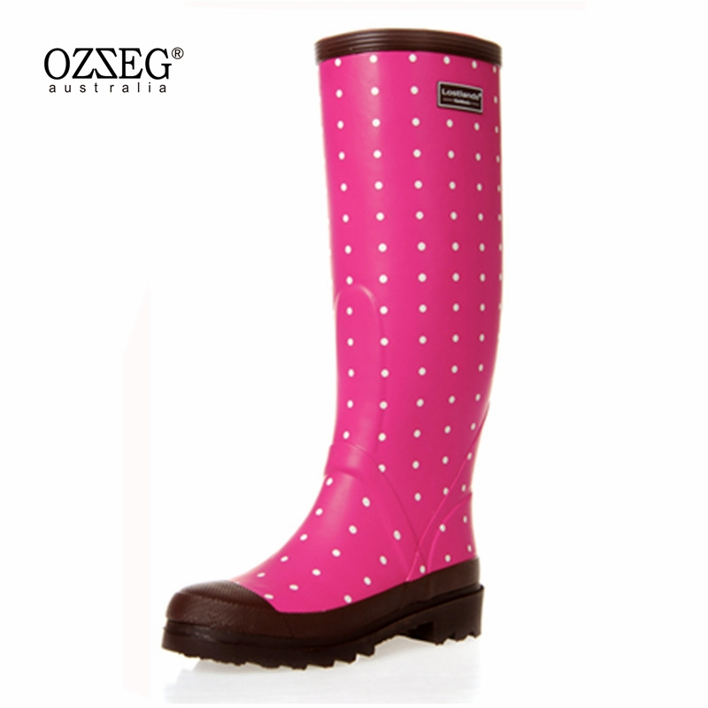 Women Rain Boots Fashion Knee High 2017 Pink Crocodile Pattern Rain Shoes Girl Summer Rubber Waterproof Rainboots Ladies Shoes free shipping fashion madam featherweight rubber boots rainboots gumboots waterproof fishing rain boots motorcycle boots