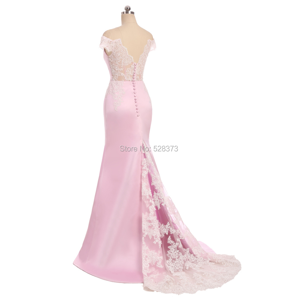 YNQNFS BD34 Elegant Off Shoulder Lace See Through Skirt Long Mermaid   Bridesmaid     Dresses   Party   Dress   Pink Real Pictures