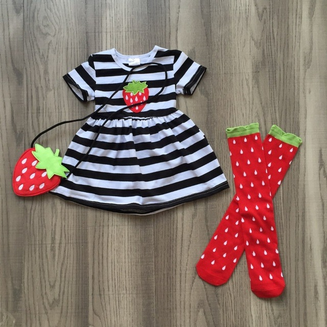 99110dbce232e US $14.99  Aliexpress.com : Buy baby girls summer outfits black white  sptriped dress with strawberry messenger bag and strawberry stocking  outfits ...