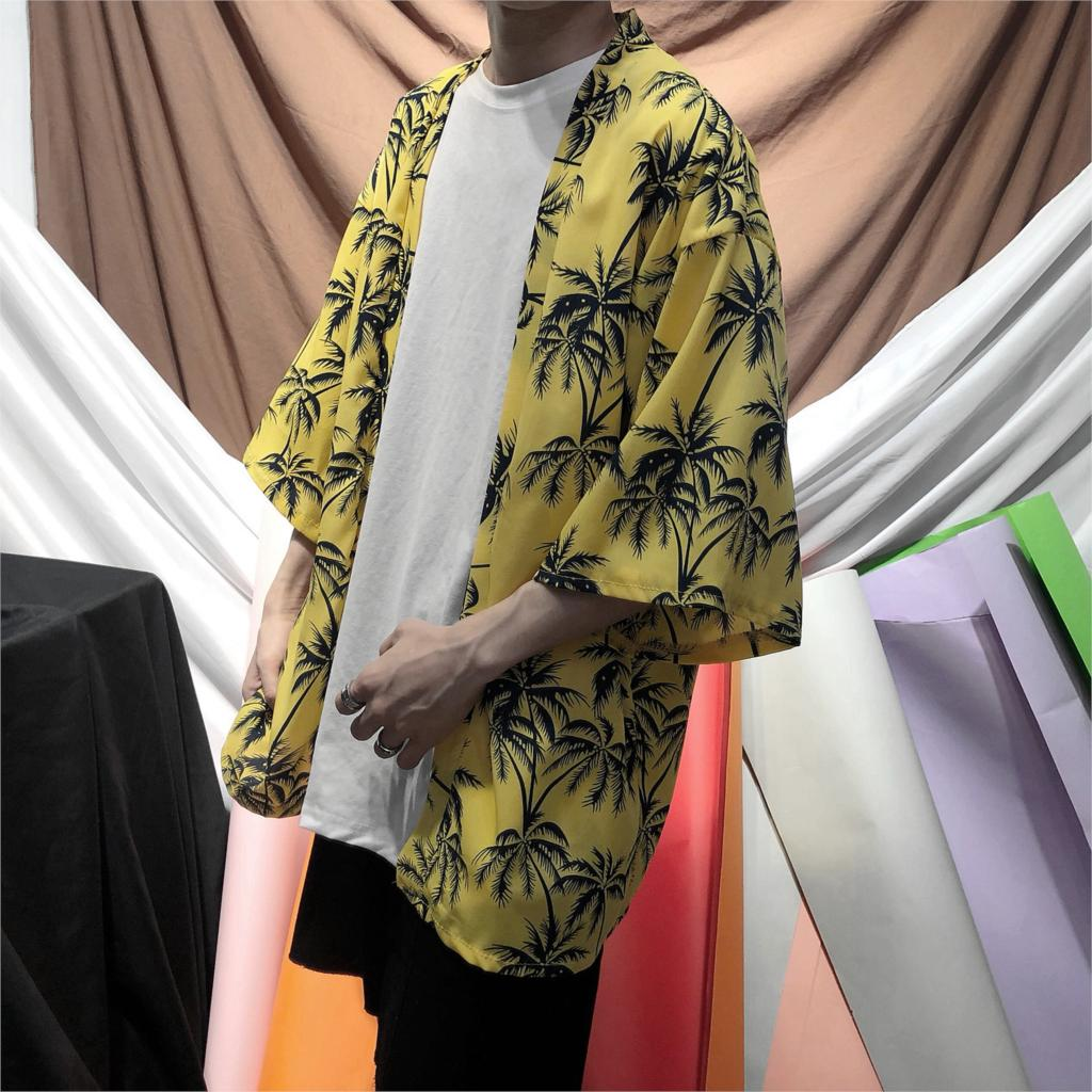 2018 summer high quality japanese style streetwear harajuku men robe hiphop personality cardigan kimonos coat clothes