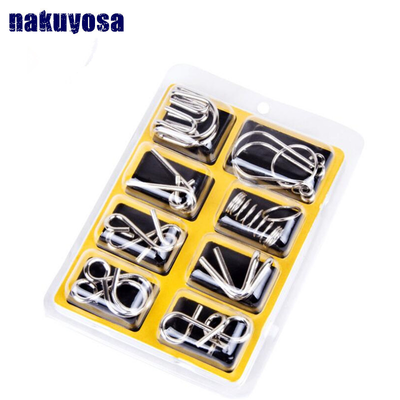 8PCS Set Metal Wire Puzzle IQ Mind Brain Teaser Puzzles Game for Adults Children Kids