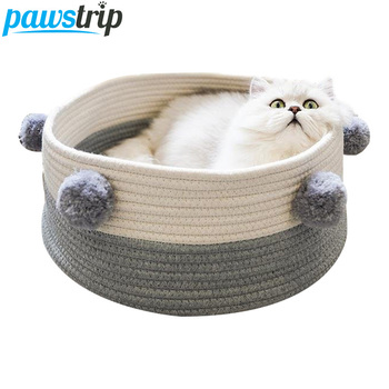 6 Colors Braided Cat Beds Basket Soft Fleece Ball Round Small Dog Bed Puppy Nest Bed Washable Pet Beds For Cats 40*16cm 1