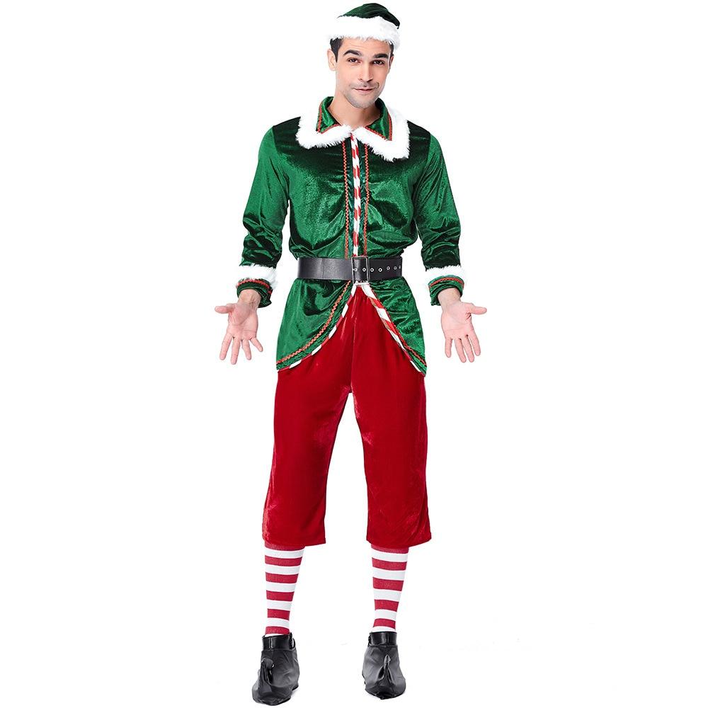 Mens adulti Meraviglioso Santas Helper Elfo di Natale Costume Maschile Divertimento Al Vostro Xmas Party Dress Up