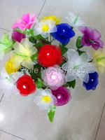 Free Shipping Wholesale 60 70 Flowers DIY Nylon Silk Flowers Material Package Meals Mesh Flowers For