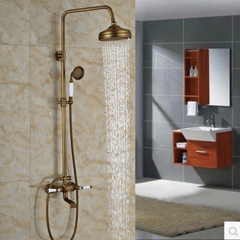 lusso montaggio a parete 8 soffione doccia set miscelatore rubinetti due manici in ceramica da
