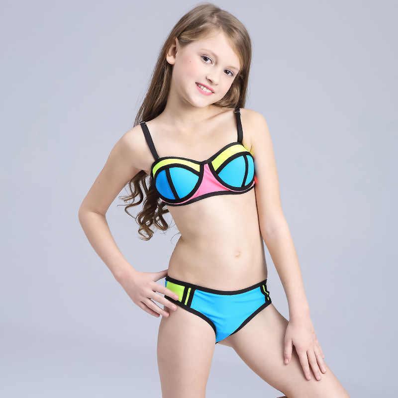21bdfe68b9b 2019 New Girls Swimsuit Cute Patchwork Bikini Set Kids Swimwear Two Piece  Bathing Suits Biquini Children
