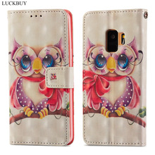 LUCKBUY 3D Printed Owl Unicorn Luxury Flip Wallet Case Coque for Samsung Galaxy S9 Plus PU Leather Back Fundas Capa