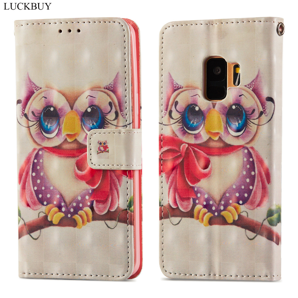 LUCKBUY 3D Printed Owl Unicorn Luxury Flip Wallet Case Coque for Samsung Galaxy S9 S9 Plus PU Leather Back Fundas Case Capa