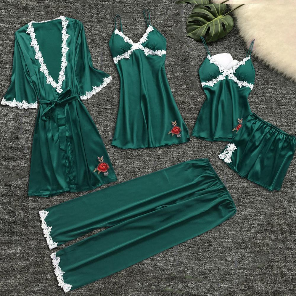Women Pajama Sets Pajamas Nightgown Silk Sleepwear For Women's Underwear Robes Babydolls Pajamas Set 5pcs Pajamas Lingerie 2019