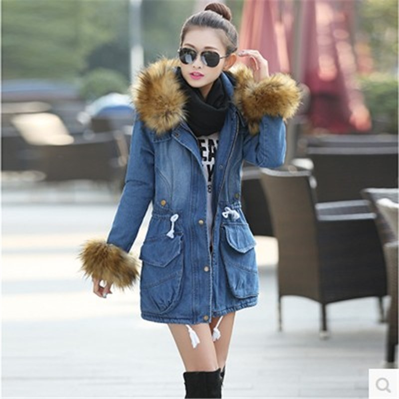 купить 2015 New Fashion Winter Coat Jacket Women Causal Denim Cotton Coat Women's Warm Collar Hooded Parkas Long Overcoat H5441 дешево