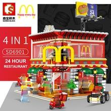 4 в 1 Sembo SD6901 мини уличный вид светодиодный McDonaldss Ресторан Дом строительные блоки модель совместима с LGSet architecture