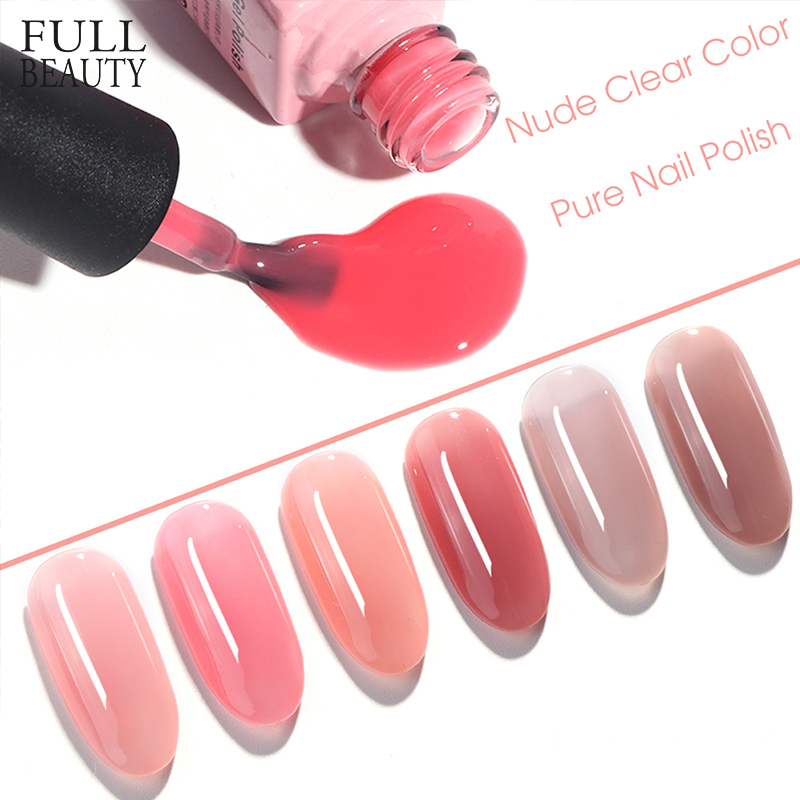 6ml Summer Nude UV Gel Nail Polish Pure Color Long Lasting Varnish Clear Pink Coffee Soak Off Topcoat Lacquer Nail Gel CHLT01-06