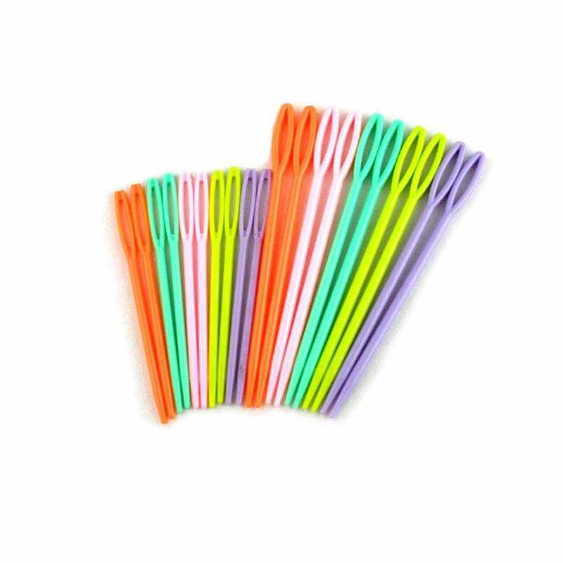 Urijk 20PCs/set Plastic Knitting Needles for Needlework Home Patchwork Seam Mixed Hand Threading Sewing Needles Arts Crafts DIY