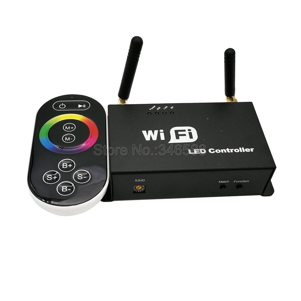 Contrôleur rvb DC5V-24 V 3 * 4A wifi LED avec télécommande tactile sans fil RF, peut être contrôlé LED par iPhone/iPad avec système Android ou IOS
