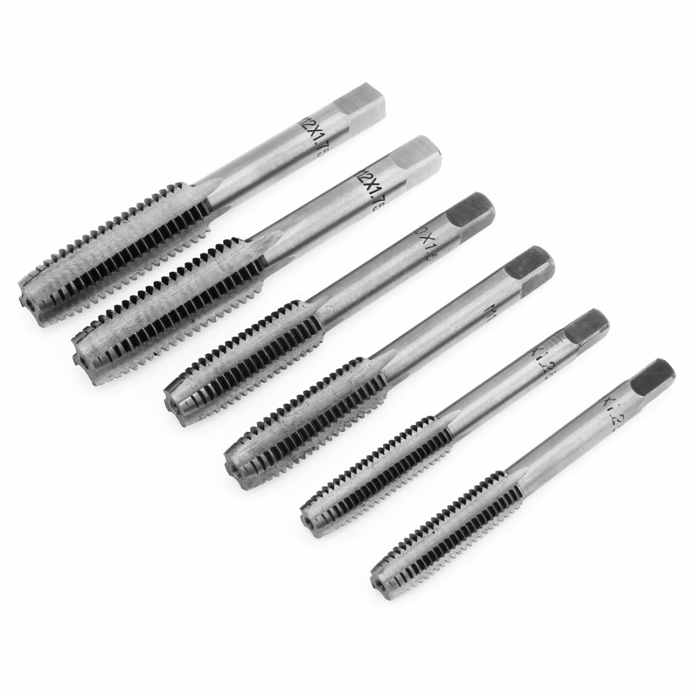 12Pcs Hand Screw Tap Thread Plugs Taps Set M3/ M4 / M6 / M8 / M10 / M12 Thread Tool Metric Plug Tap Set Straight Flute Drill Set 2pcs m3 m4 m6 m8 m10 m12 m14 m16 m18 m20 m22 m24 hand screw thread metric plug tap drill set straight flutes hand tapping