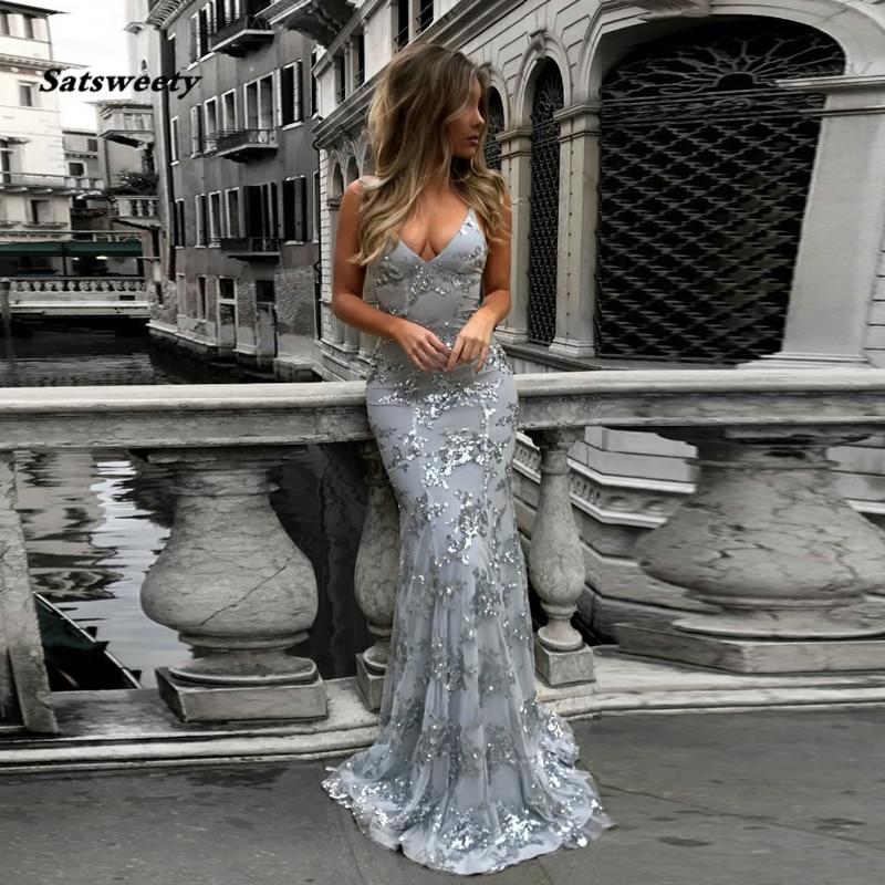 Sexy Mermaid   Prom     Dresses   Applique vestido de festa longo Silver Evening Gowns Formal   Dress   robe de soiree longue