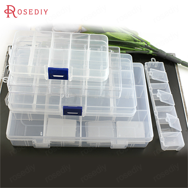 (8462)White Acrylic Plastic Rectangle Loaded Beads Box Beads Container Diy Jewelry Findings Accessories