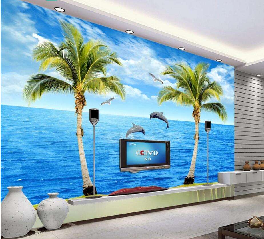 WDBH custom mural 3d photo wallpaper on the wall The sea coconut dolphin landscape 3d wall murals wallpaper for living room shinehome sunflower bloom retro wallpaper for 3d rooms walls wallpapers for 3 d living room home wall paper murals mural roll