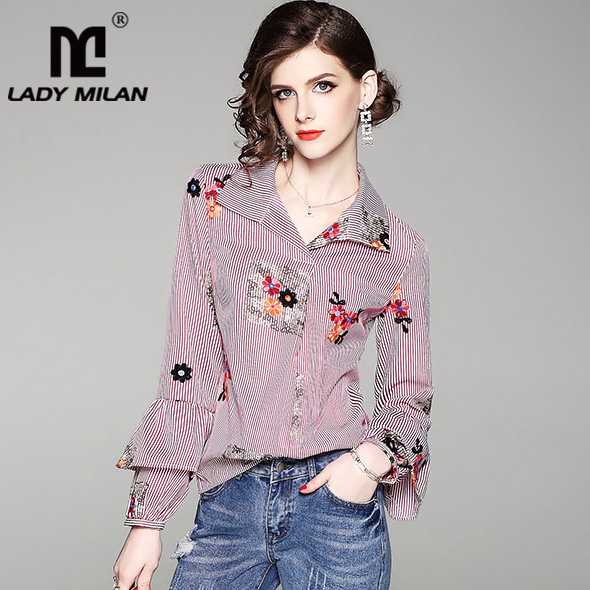 New Arrival 2018 Womens Turn Down Collar Long Sleeves Embroidery Loose Design Fashion Casual Summer Shirts