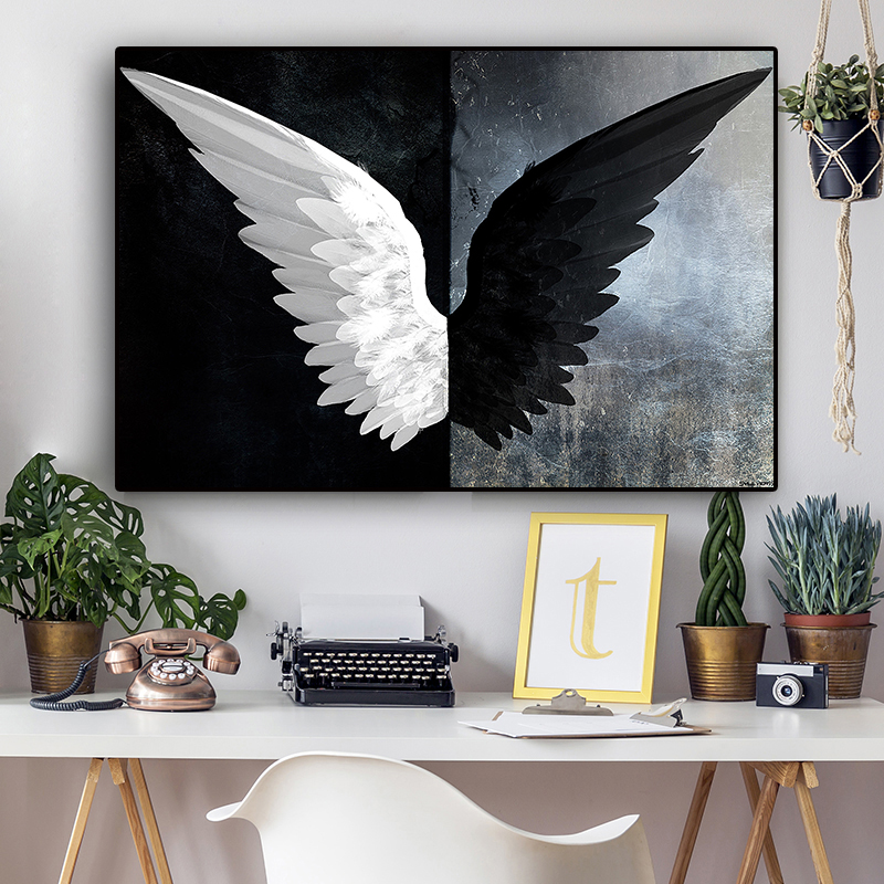 Black And White Powerful Feather Wings Canvas Painting Scandinavian Posters And Prints Nordic Wall Art Picture For Living Room