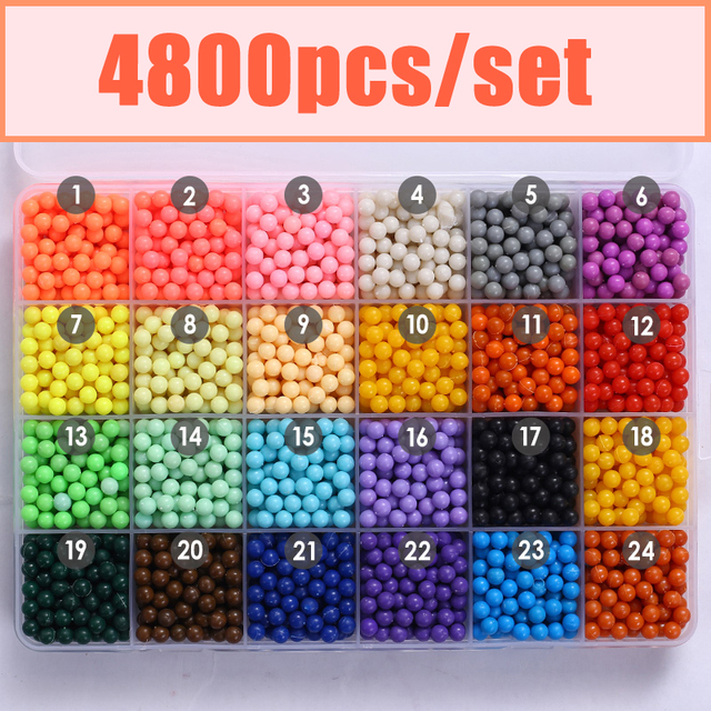 24Color Water Aqua beads toys sticky perler beads pegboard set fuse beads jigsaw puzzle Water beadbond educational toys diy kids