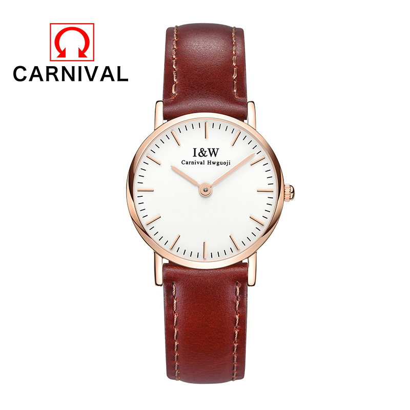 Carnival Fashion Men Watch Simple Color Leather Strap Thin Dial Women Watch Casual Quartz Wristwatch Classic Clock Relogio цена
