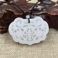 wholesale natural China XINJIANG white jade  carved lock Pendants for child FREE SHIPPING
